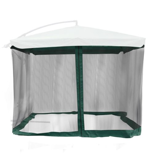 9'x9' Square 6 3/5Ft Height Patio Umbrella Mosquito Net Gazebo Top Replacement Mesh Netting Green Edge w/ Zip Entry Lightweight for Outdoor Canopy Cover Screen