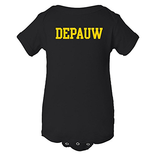 YC01 - DePauw Tigers Basic Block Infant Creeper Bodysuit - 6 Month - Black