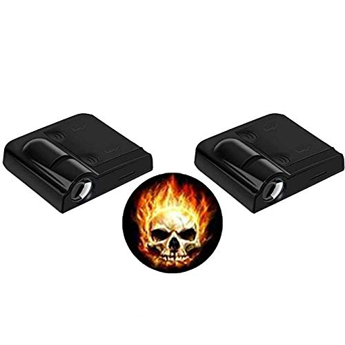 LEIWOOR 2pcs Universal Wireless Car Projection LED Door Shadow Light Laser Lamps Kit (Flame Skull) -