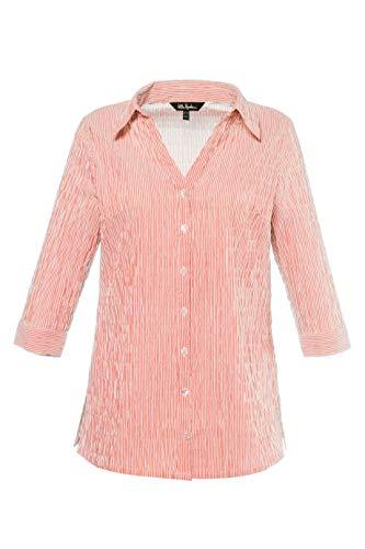 (Ulla Popken Women's Plus Size Seersucker Textured Stripe Blouse Apricot Stripe 20/22 697563 66)