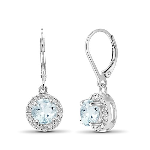 (0.90ctw Genuine Aquamarine Gemstone and White Diamond Accent Sterling Silver Halo Earrings)