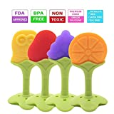 Baby Teether - Baby Teething Toys Made of Soft Silicone Fruit BPA Free Non Toxic Freezer Safe Natural FDA Approved Soothing for Infants on Sore Gums for Boys/Girls (4 Pack) by Rocksoliddealzzz