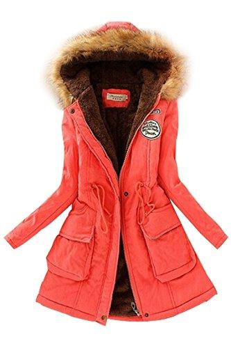 TOOGOO (R)Mujer Abrigo largo de acolchado grueso de invierno de piel encapuchado Ropa exterior Chaqueta -Rojo de la sandia-XL