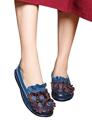 Pregnant Zoulee Women's Flowers Blue Flat Shoes Cowhide Leather Handmade Shoes UfqrUvx