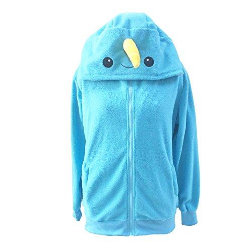 Lifeye Adult Narwhal Hoodie Animal Cosplay Costume Blue -