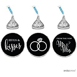 Andaz Press Chocolate Drop Labels Stickers, Wedding Hugs & Kisses from the New Mr. & Mrs., Black, 216-Pack, For Bridal Shower Engagement Hershey's Kisses Party Favors Decor