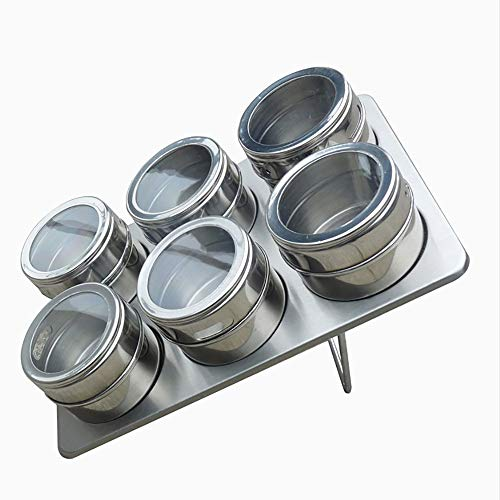 QETU 6 Pieces Stainless Steel Magnetic Spice Jars Set - Salt and Pepper Spray Shakers Spice Rack Seasoning Box Condiment Container