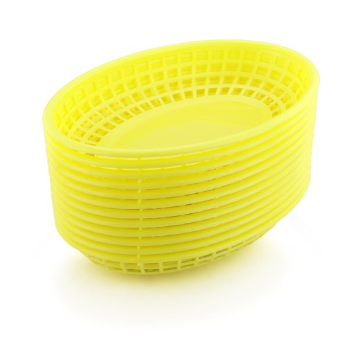 New Star Foodservice 44188 Fast Food Baskets, 9.25 x 6 inch Oval, Set of 12, Yellow