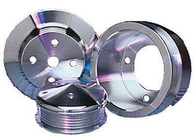 March Performance 7015 Performance Ratio Clear Powder Coated Billet Aluminum V-Belt Pulleys Set of 3