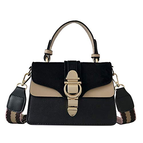 Handbag, Women Vintage Style Bucket Bag Elegant Retro Shoulder Crossbody Bag Messenger Leather Work Tote Satchel (Black)