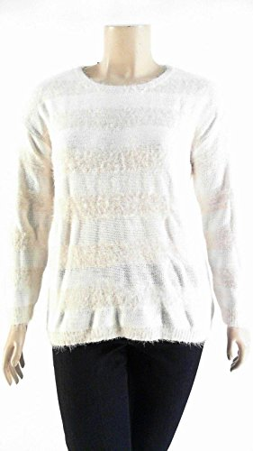 Joseph A. Women's Eyelash Sweater, Cream Stripe (X-Large)