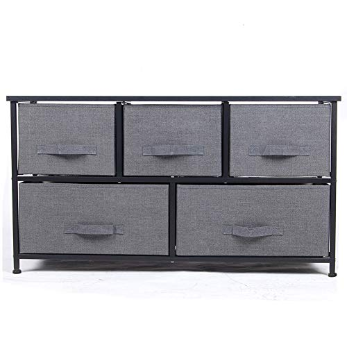 Polar Aurora 5 Drawers Dresser Wide Dresser Storage Tower with Handrail for Multiple Rooms Storage Organizer Unit nightstand Bedside Table End Table (Charcoal Gray/Black) ()