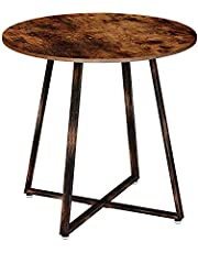 Rolanstar Dining Table, Round Table with Metal Legs for Kitchen Living Room, Coffee Table Bristro Table for Cafe/Bar, Rustic Brown