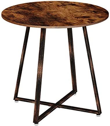 Rolanstar Dining Table Rustic Round Table with Metal Legs for Kitchen Living Room Coffee Table Bristro Table for Cafe/Bar RT001-A