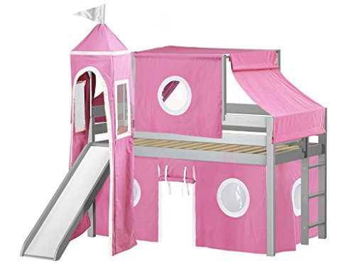 - JACKPOT! Princess Low Loft Bed with Slide Pink and White Tent and Tower, Twin, Gray