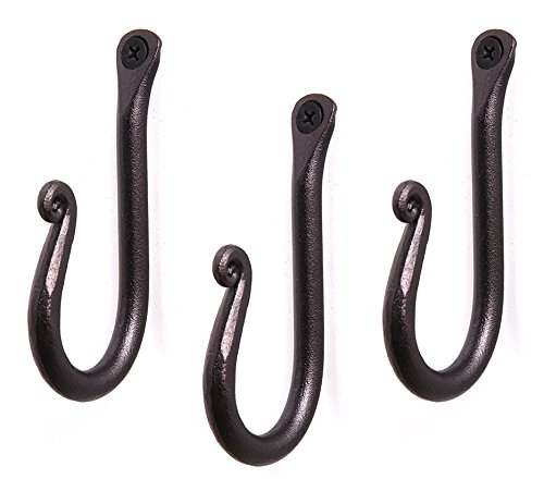 (Handcrafted Wrought Iron Hook | Set of 3 | Decorative Black Hangers for Hanging Coat, Hat, Jacket, Robe, Bath Towel | Mug Hooks | Wall Mount J Hooks | Enjoy)
