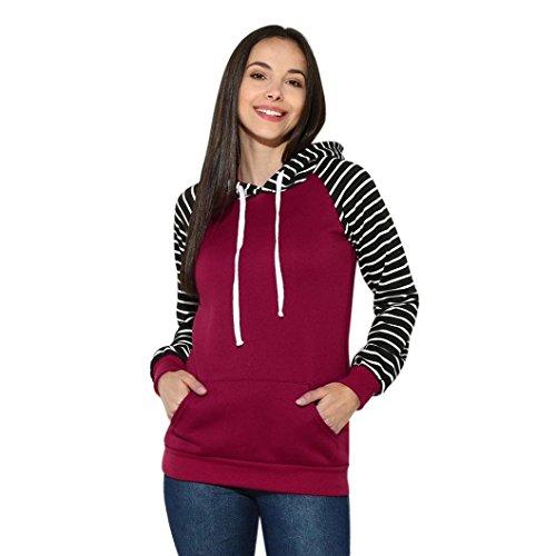 3508365ffa6 Hoodie for Womens, FORUU Striped Hooded Long Sleeve Casual Sweatshirt  Pullover