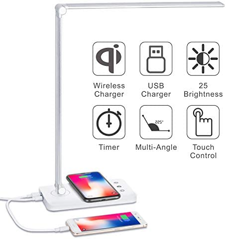 Sunfuny LED Desk Lamp with Qi Wireless Charger, USB Charging Port, Office Table Lamp, Bedroom Desktop Light, 5 Lighting Modes 5 Dimmer Levels, Auto Timer, Touch Control, Silver, Halloween Gift