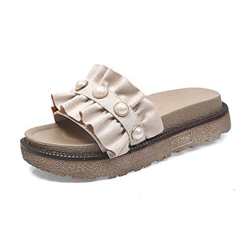 AJUNR Moda/elegante/Transpirable/Sandalias La Perla de 4 cm de espesor bizcocho de zapatos zapatillas arrastrar y soltar beige 37 37