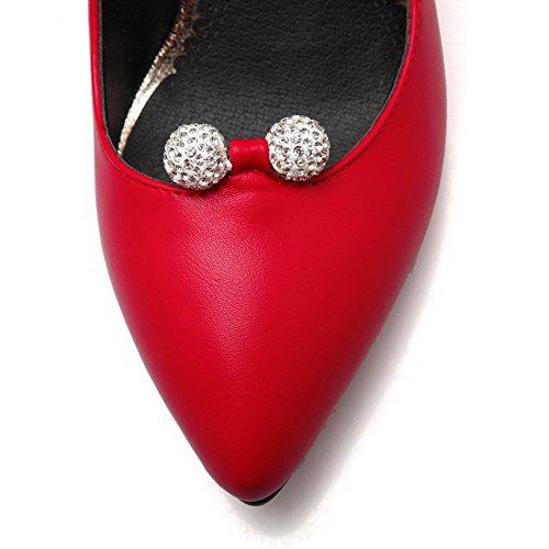 Amoonyfashion Kvinnor Pull-on Pu Pekade-toe Kick-häl Fasta Pumpar-shoes Röda