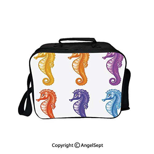 Hot Sale Lunch Container,Set of Baby Seahorse Diving Swim Unique Young Happy Mascot Maritime Art Prints Multi 8.3inch,Lunch Bag Large Cooler Tote Bag For Men, Women -