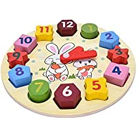 Party Propz Wooden Blocks Toys Digital Geometry Clock Baby Kids Early Education Puzzle Set for Kids