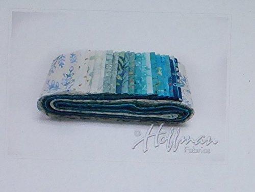 Hoffman Bali Batik Quilt Fabric (Bali Batiks Beach Glass Bali Poppy 20 2.5-inch Strips Jelly Roll Hoffman Fabrics BPP-661-BEACH GLASS)