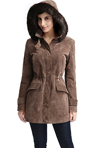BGSD Women's Chloe Hooded Suede Leather Parka Coat - M (Leather Parka Hooded)