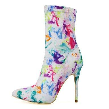 RTRY Zapatos De Mujer De Tela Moda Otoño Invierno Botas Botas Stiletto Talón Señaló Toe Botas Mid-Calf Cremallera Para Vestimenta Casual Blanco Y Negro US5.5 / EU36 / UK3.5 / CN35