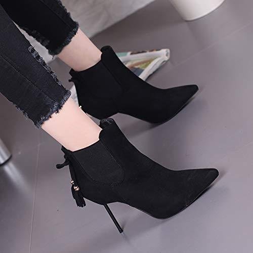LBTSQ-Sexy Witze Fransen Fliegen Kurze Stiefel Stiefel Stiefel Metall Dünnen Absätzen 9Cm High Heels Pointcuts Ma Dingxue. c619ae