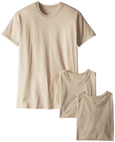 Soffe Men's 3-Pack Short Sleeve Crew Neck Military T-Shirt, Sand, Large from Soffe