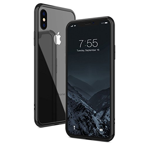 iPhone X Case, Clear Tempered Glass Back Cover, Soft TPU Rubber Edge Protection Cases with Shock Absorption for iPhone X/iPhone10