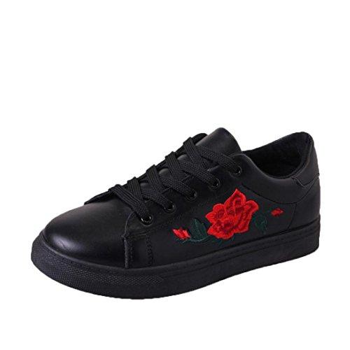 Mode Riemen Damen Schwarz Btruely Sneakers Herbst Schuhe Stickerei Winter Sportschuhe Schuhe Mädchen Blumen pXfqHUf