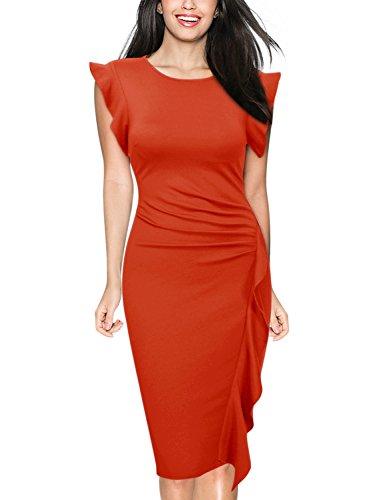 Miusol Women's Business Retro Ruffles Cap Sleeve Slim Cocktail Pencil Dress (Large, I-Dark Orange) - Ruffle Cap