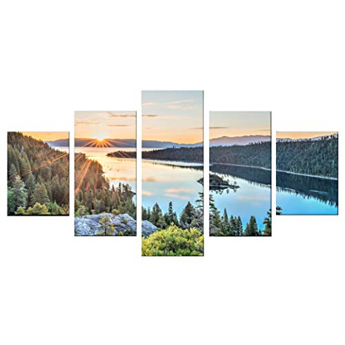 Teenymy Lake Tahoe View Canvas Wall Art Prints 5-Pieces Size 3 No Frame