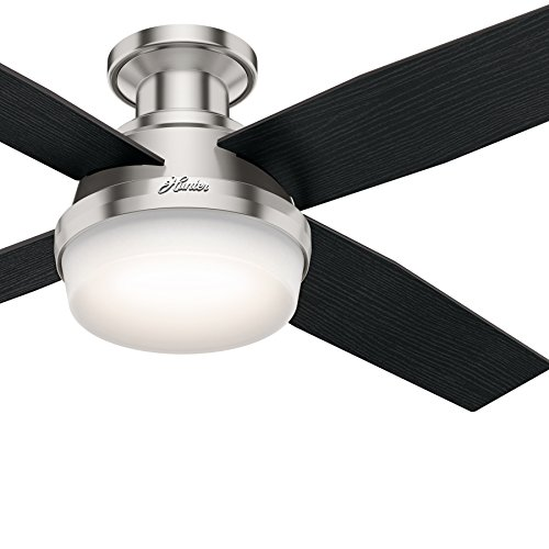 Hunter Fan 52 inch Contemporary Low Profile Brushed Nickel Ceiling Fan with LED Light kit and Remote Control, 4 Blade Renewed