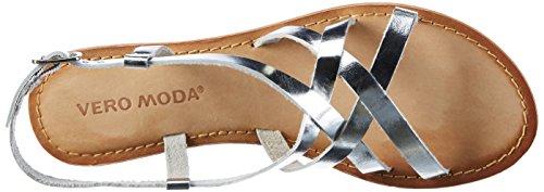 Vero Moda Vmvina Leather Sandal, de Tiras para Mujer Gris (Silver)