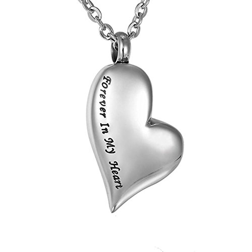 TTVOVO Cremation Urn Necklace for Ashes Engraved Forever in My Heart Charm Pendant Memorial Keepsake Bereavement Stainless Steel Jewelry