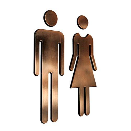 (LOVIVER Set Plastic WC/Toilet/Bathroom/Washroom/Restroom Sign Door Wall Sticker Plate - Bronze)