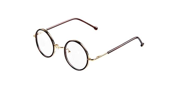 Tea Vintage Small Round Eyeglass Frames Glass Spectacles Retro UNI ...