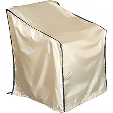 Abba Patio Outdoor/Porch Single Lounge Chair Cover, Water-repellent and Fire Resistant, All Weather Protection, Tan Color, Large