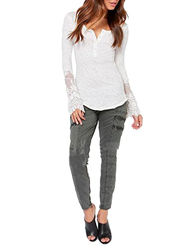 Richlulu Womens Sexy V Neck Sheer Lace Embroidered Contrast Sleeve Swallow Tail Cut Out T Shirt ()