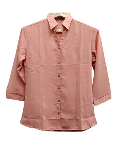 OPEN STYLE Women's Solid Formal Chiffon 3/4th Sleeves Shirt