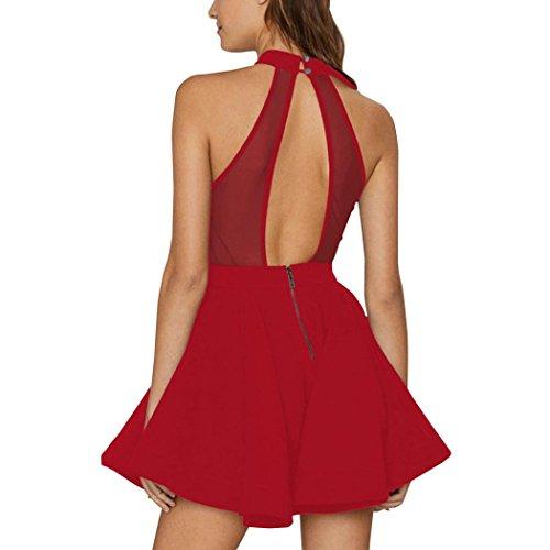 vestidos de mujer,Switchali Mujer Verano Casual Bodycon Fiesta Nocturna Cóctel Corto Mini vestido sin mangas Tutú vestido algodón ropa para mujer Rojo