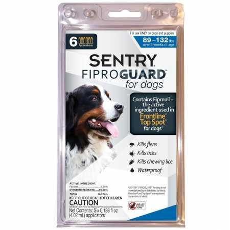 SENTRY Fiproguard for Dogs, Flea and Tick Prevention for Dogs (89-132 Pounds), Includes 6 Month Supply of Topical Flea Treatments (Frontline Plus For Small Dogs Best Price)