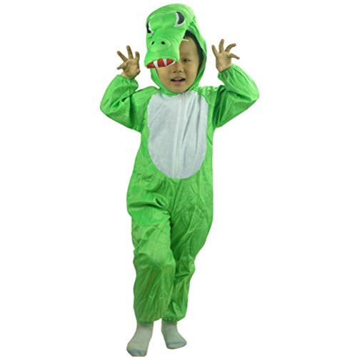 Halloween Cosplay Costume Kids Masquerade Party Stage Performance Clothing Crocodile Animal Costume Size L (Green)