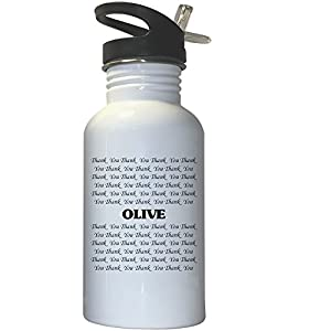 Thank you Olive White Stainless Steel Water Bottle Straw Top, 1001