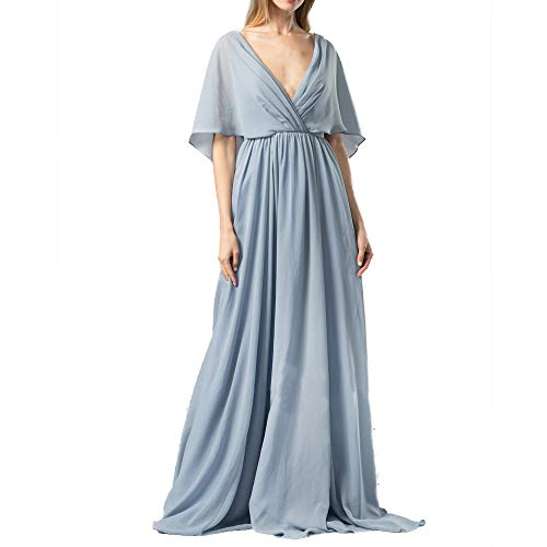 (Landfox Clothing Shoes, Chiffon Batwing Sleeve Dress,Women's Fashion V-Neck Party Long Maxi Cocktail Dress)