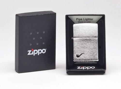Zippo Lighter Pipe Brushed Chrome Design , Brushed Chrome Black Pipe , One Size