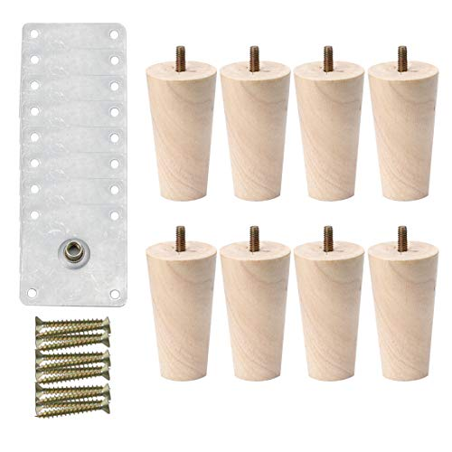 uxcell 6 Inch Round Solid Wood Furniture Legs Sofa Couch Chair Table Desk Closet Cabinet Feet Replacement Adjuster Set of 8